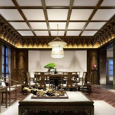 中式客餐厅, 茶几, 吊灯, 椅子, 桌子, 边几, 置物柜, 壁画, 中式
