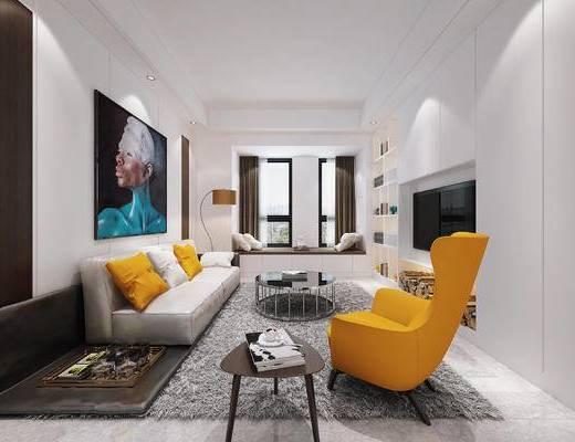 现代客厅, 椅子, 壁画, 多人沙发, 茶几, 边几, 落地灯, 置物柜, 现代