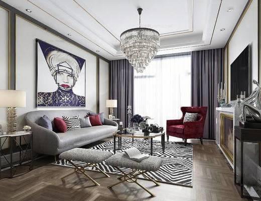 后现代客厅, 吊灯, 壁画, 多人沙发, 边几, 台灯, 茶几, 凳子, 后现代