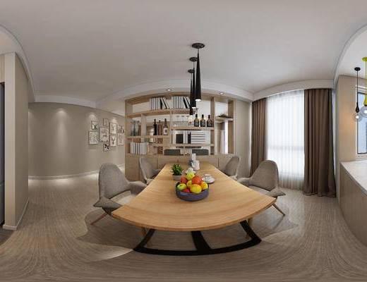 现代客餐厅, 吊灯, 桌子, 椅子, 吧台, 橱柜, 壁画, 现代