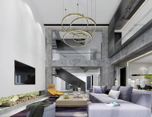 现代客厅, 茶几, 吊灯, 多人沙发, 椅子, 沙发凳, 现代