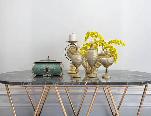摆件组合, 桌子, 花瓶, 花卉, 简欧