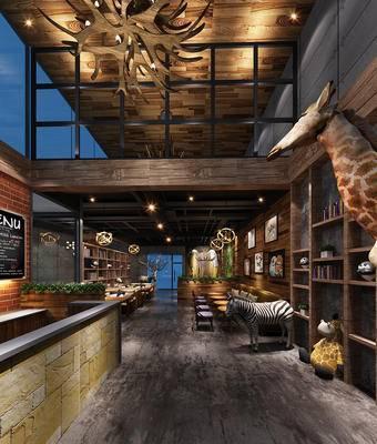 现代咖啡厅, 置物柜, 吧台, 桌子, 椅子, 现代