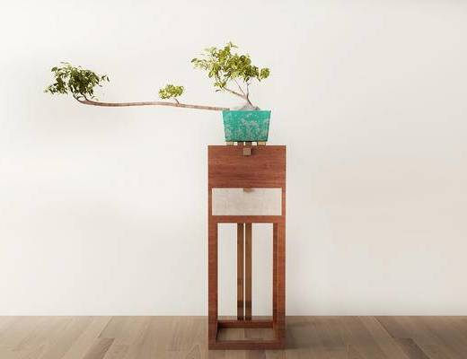 摆件组合, 盆栽, 边几, 新中式