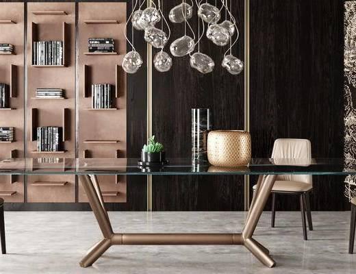 现代, 餐桌, 椅子, 吊灯, 置物架, 摆件