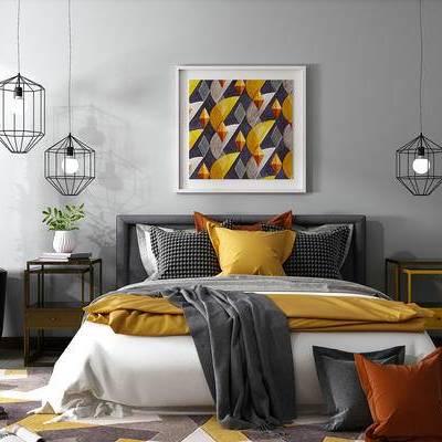 床具组合, 双人床, 吊灯, 边几, 壁画, 盆栽, 地毯, 现代