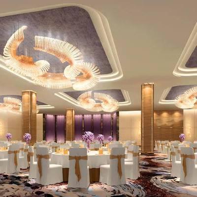 现代宴会厅, 吊灯, 桌子, 椅子, 现代