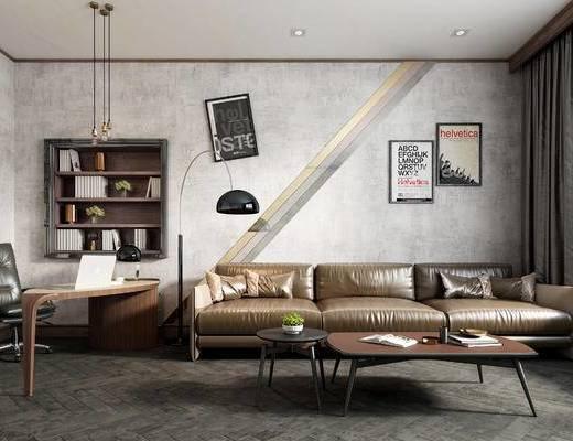 工业风, 沙发, 茶几, 置物架, 挂画, 书桌, 椅子, 盆栽
