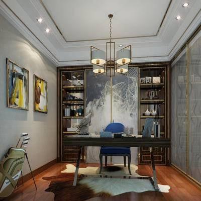 新中式书房, 吊灯, 椅子, 桌子, 置物柜, 壁画, 新中式