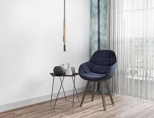 单椅, 吊灯, 边几, 北欧