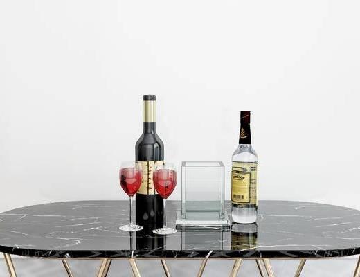 摆件组合, 杯子, 酒瓶, 现代