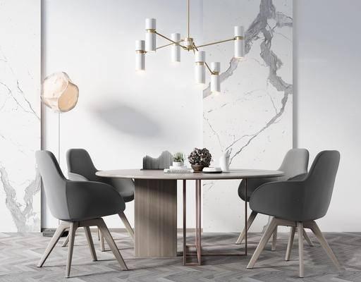 北欧简约, 桌椅组合, 吊灯, 落地灯, 植物盆栽
