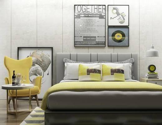 双人床, 壁画, 椅子, 边几, 台灯, 床头柜, 北欧
