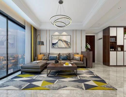 现代简约, 餐厅, 客厅, 沙发茶几组合, 桌椅组合