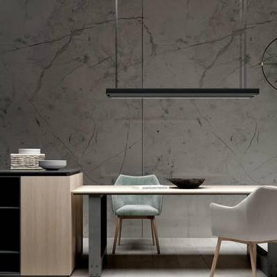 桌椅组合, 吊灯, 桌子, 椅子, 盆栽, 现代