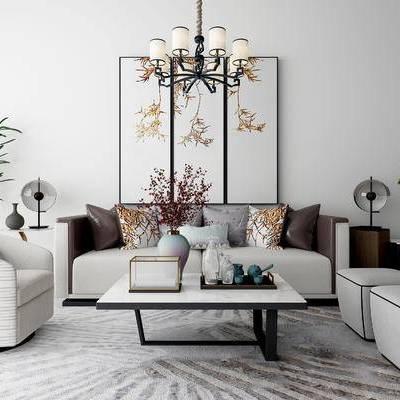 沙发组合, 新中式沙发, 茶几, 凳子, 壁画, 吊灯, 盆栽, 边几, 花瓶, 新中式
