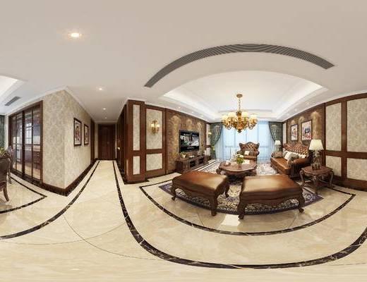美式客餐厅, 电视柜, 多人沙发, 茶几, 椅子, 桌子, 台灯, 边几, 吊灯, 沙发凳, 美式