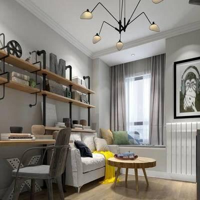 现代书房, 吊灯, 椅子, 桌子, 相框, 边几, 储物架, 多人沙发, 现代