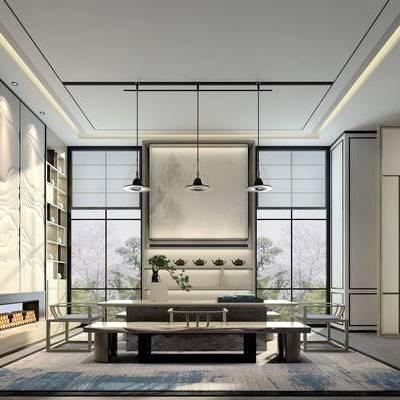 新中式茶室, 吊灯, 壁画, 桌子, 椅子, 置物柜, 盆栽, 新中式