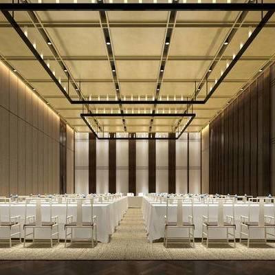 会议室, 桌子, 椅子, 吊灯, 新中式