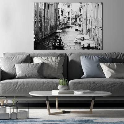 沙发组合, 双人沙发, 壁画, 茶几, 现代