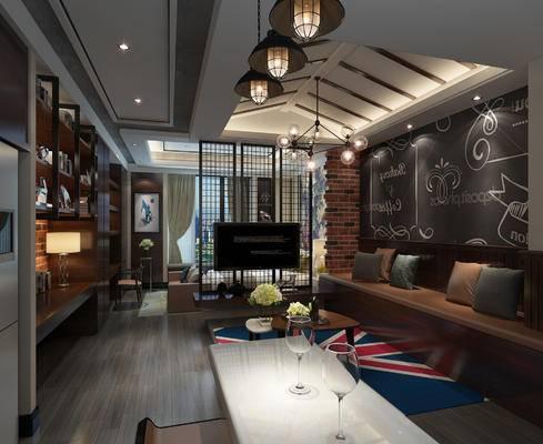 美式公寓, 吊灯, 多人沙发, 置物柜, 椅子, 壁画, 茶几, 美式