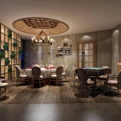 中式客餐厅, 桌子, 椅子, 边几, 边柜, 吊灯, 壁画, 置物柜, 中式
