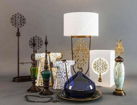 新中式, 瓷器, 摆件组合, 陈设品组合