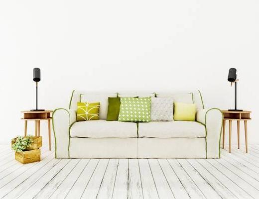 双人沙发, 边几, 台灯, 北欧