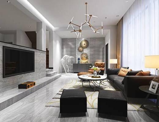 现代客厅, 多人沙发, 茶几, 椅子, 边几, 台灯, 沙发凳, 吊灯, 边柜, 现代