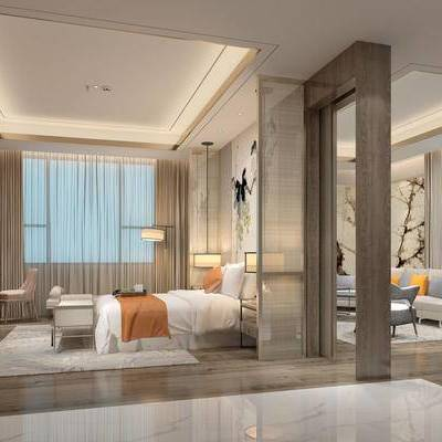 现代客房, 双人床, 电视柜, 壁画, 床尾塌, 桌子, 椅子, 边柜, 吊灯, 台灯, 落地灯, 多人沙发, 边几, 地毯, 现代