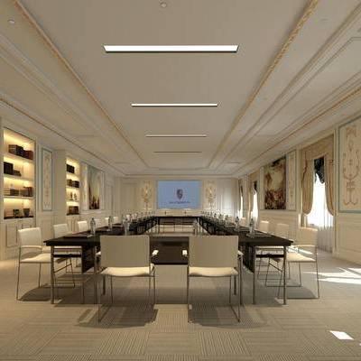 会议室, 桌子, 椅子, 壁画, 置物柜, 壁灯, 窗帘, 欧式