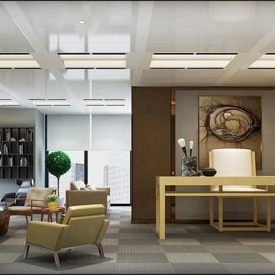 新中式办公室, 多人沙发, 桌子, 椅子, 边几, 置物柜, 茶几, 台灯, 落地灯, 壁画, 新中式