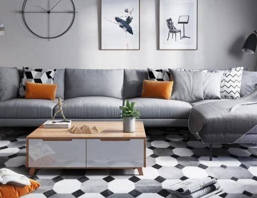 沙发组合, 多人沙发, 茶几, 壁画, 现代