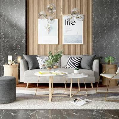 沙发组合, 壁画, 吊灯, 多人沙发, 沙发凳, 椅子, 茶几, 边几, 地毯, 北欧