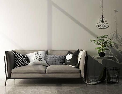沙发组合, 双人沙发, 边几, 吊灯, 现代