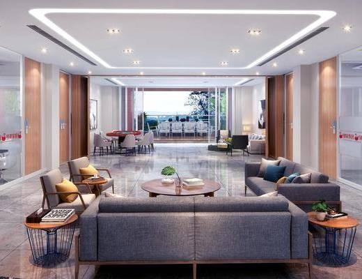 茶水区, 办公区, 现代茶水区, 沙发组合, 茶几, 摆件, 单椅, 挂画, 现代