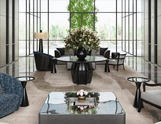 现代售楼大厅, 沙发椅, 茶几, 盆栽, 现代