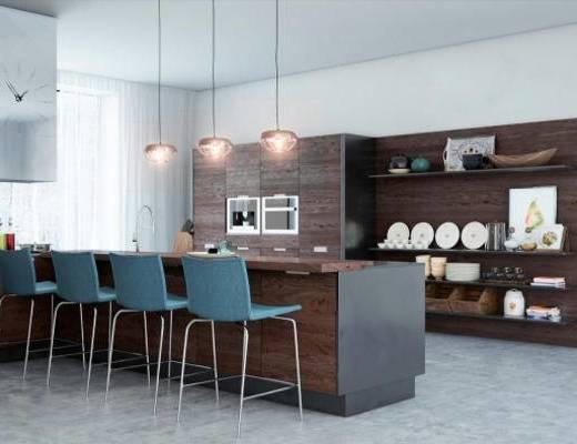 现代, 橱柜, 餐桌椅, 餐具, 置物架, 摆件