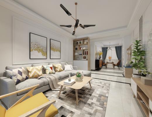 现代客厅, 客厅, 沙发组合, 餐厅