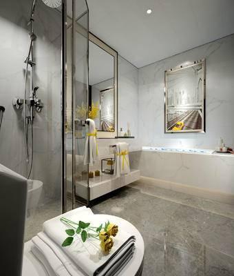 卫生间, 洗手台, 镜子, 淋浴间, 马桶, 壁画, 现代