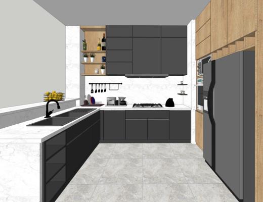 厨房, 现代, 洗手台, 橱柜, 简约