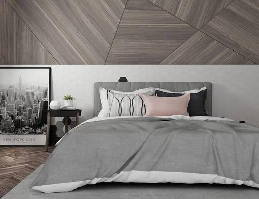 双人床, 壁画, 边几, 现代