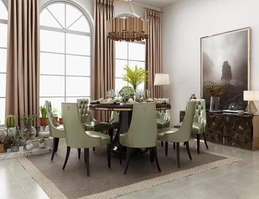 桌椅组合, 吊灯, 桌子, 椅子, 边柜, 台灯, 盆栽, 落地灯, 后现代