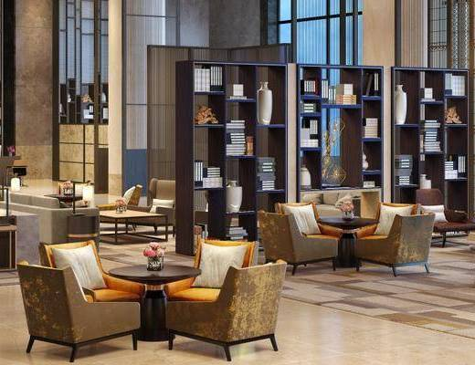 大堂大厅, 休息区, 椅子, 茶几, 置物柜, 双人沙发, 台灯, 地毯, 新中式