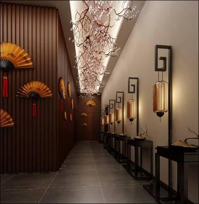 走廊过道, 吊灯, 边几, 落地灯, 中式
