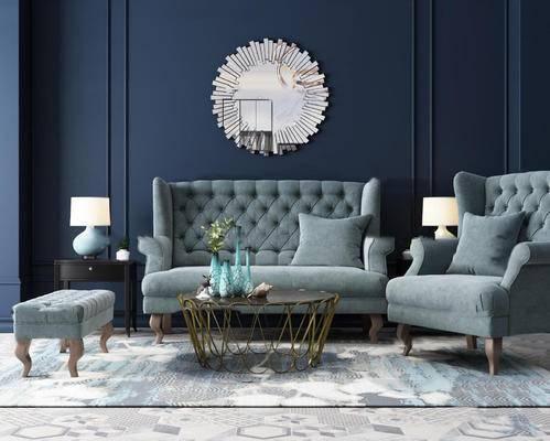 后现代, 装饰镜, 沙发, 茶几, 台灯, 花瓶