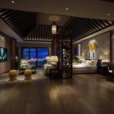 中式客房, 双人床, 壁画, 多人沙发, 凳子, 吊灯, 台灯, 茶几, 中式