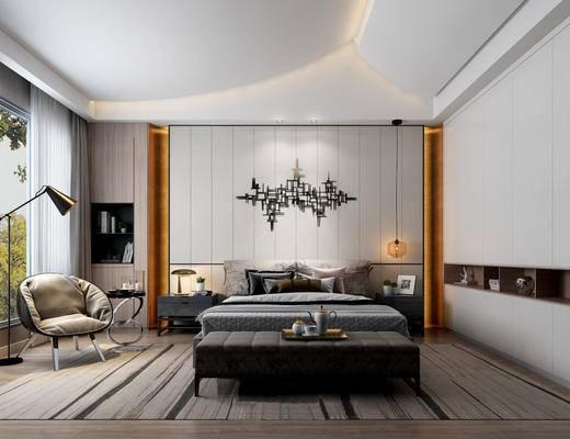 现代简约, 卧室, 床具组合, 吊灯, 沙发茶几