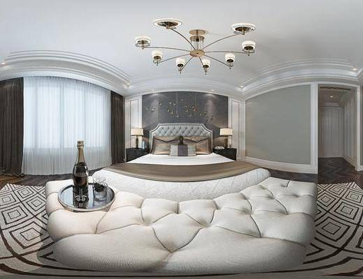 现代卧室, 吊灯, 双人床, 床尾塌, 台灯, 壁画, 床头柜, 电视柜, 现代